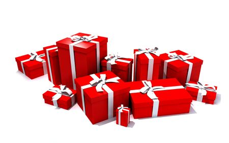 red packet: 3D rendering of a big group of red gift boxes with a white ribbons in different sizes Stock Photo