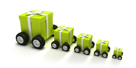 tokens: 3D rendering of a line of green gift boxes with a white ribbons on wheels