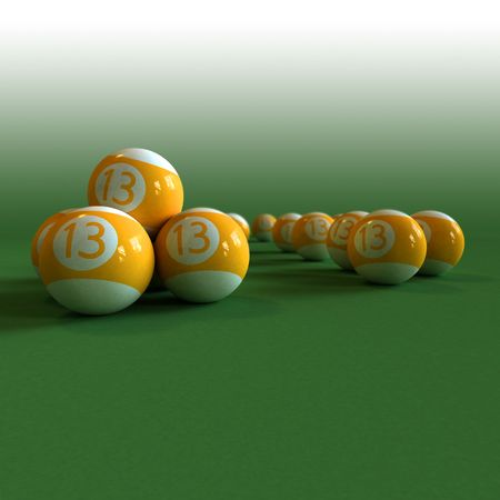 felt: Orange billiard balls number 13 on green felt table Stock Photo
