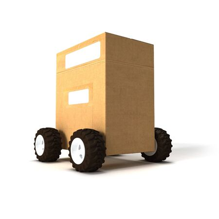 consignment: 3D rendering of a Brown cardboard box with wheels