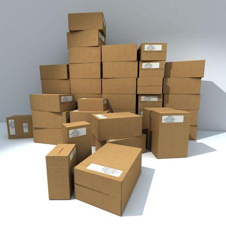 stockpiling: 3D de la pile, cajas de cart�n con etiquetas de color blanco