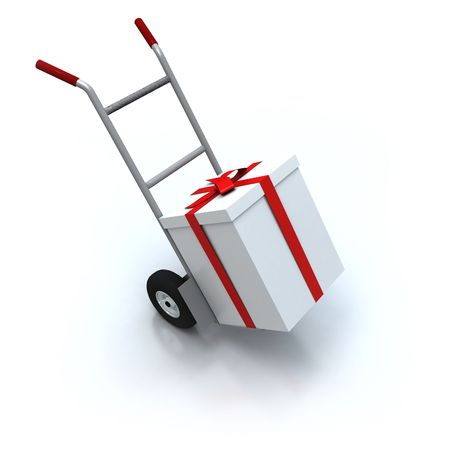 consignment: 3D rendering of a hand cart carrying a big white present with a red ribbon