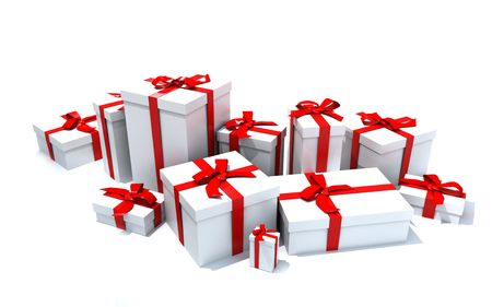 tokens: 3D rendering of a big group of white gift boxes with red ribbons in different sizes