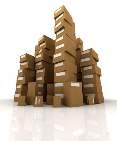 stockpiling: Extremadamente altas pilas de cajas de cart�n en equilibrio