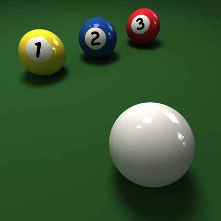 cue ball: Billiard balls with numbers 1, 2, 3 and a cue ball