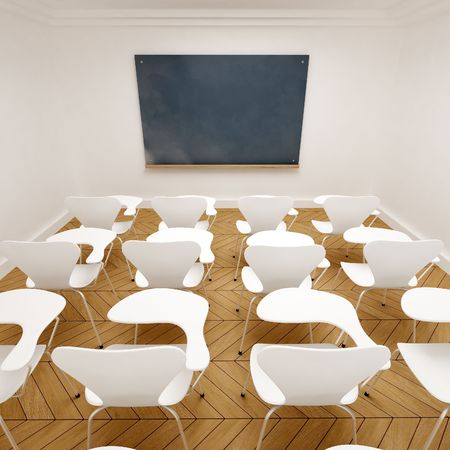 lecture room: 3D rendering of an empty classroom Stock Photo