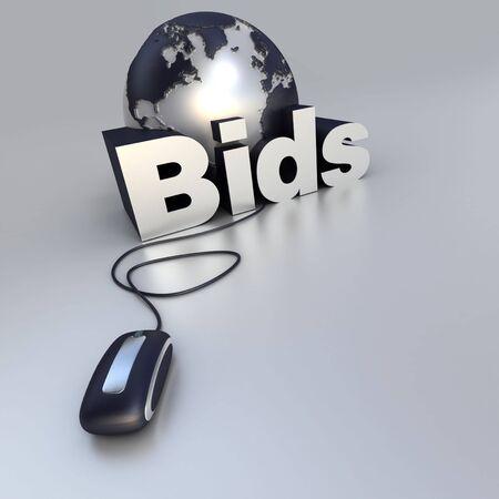 bid: 3D-prestaci�n de un mundo en globo, un rat�n del ordenador y la palabra oferta en azul y plata Foto de archivo