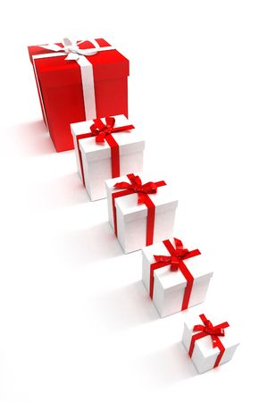 tokens: 3D rendering of an alignment of presents of different sizes in red and white