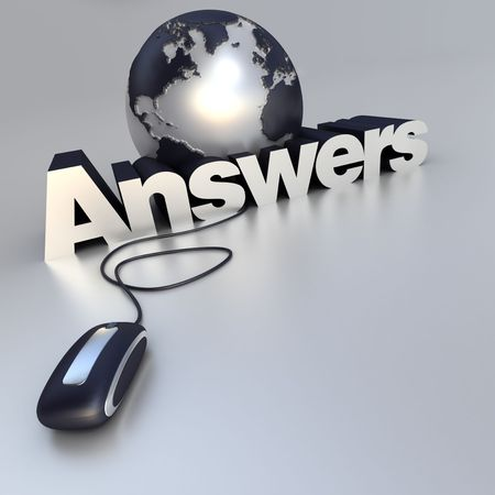 3D-rendering of a world globe, a computer mouse and the word Answers in blue and silver Stock Photo - 3884604