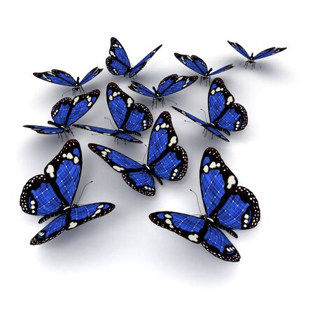 fragility: 3D rendering of a group of blue butterflies with solar panel texture