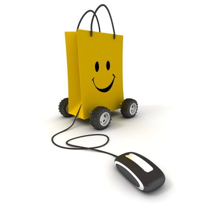 Smiling yellow shopping bag on wheels connected to a computer mouse Stock fotó