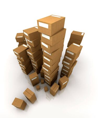 stockpiling: Extremely high  piles of cardboard boxes in equilibrium Stock Photo