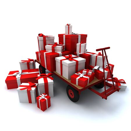 3D rendering of a pallet truck loaded with lots of presents in red and white photo