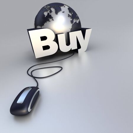 3D-rendering of a world globe, a computer mouse and the word buy in blue and silver Stock Photo - 3907489