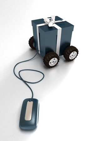 3D rendering of a blue gift box on wheels connected to a computer mouse photo
