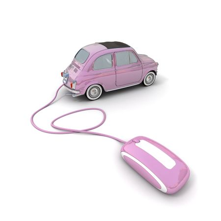 dealership: Pink vintage car connected to a computer mouse Stock Photo