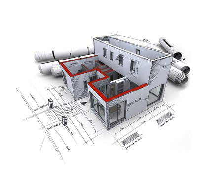 3D rendering of an architecture model, with rolled up blueprints and handwritten notes and measurements Stock Photo - 3953945