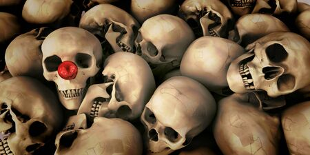 out of context: Pile of skulls, one of them with a clown's nose