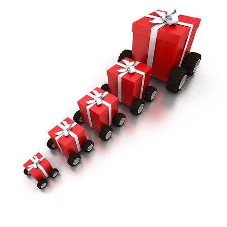 3D rendering of a line of red gift boxes with a white ribbons on wheels Stock Photo - 3953924