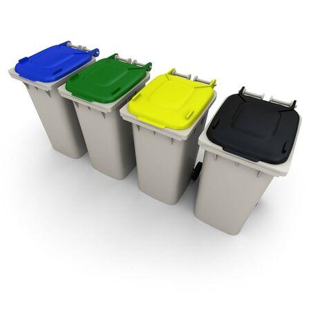 differently: 3D rendering of four garbage bins with differently colored lids