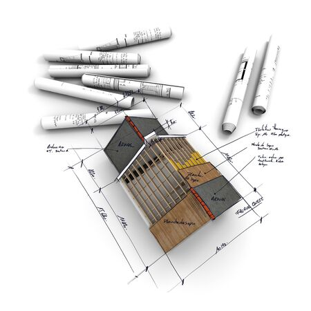 Aerial view of  architecture model, with rolled up blueprints and handwritten notes and measurements Stock Photo - 3972041