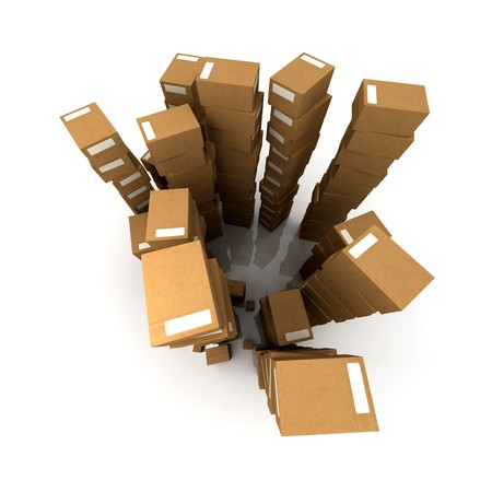 equilibrium: Extremely high  piles of cardboard boxes in equilibrium Stock Photo