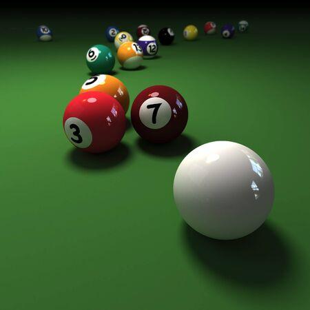 felt: Pool game balls against a green felt table