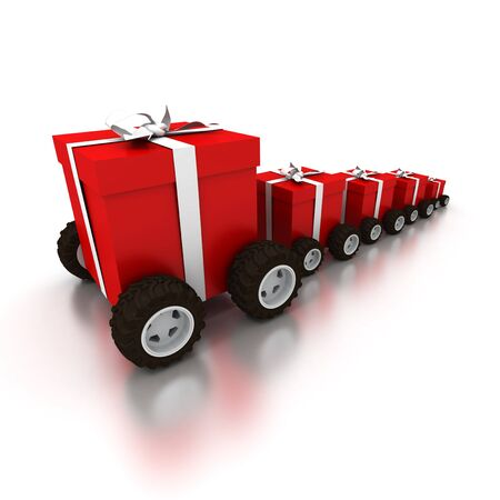 tokens: 3D rendering of a line of red gift boxes with a white ribbons on wheels