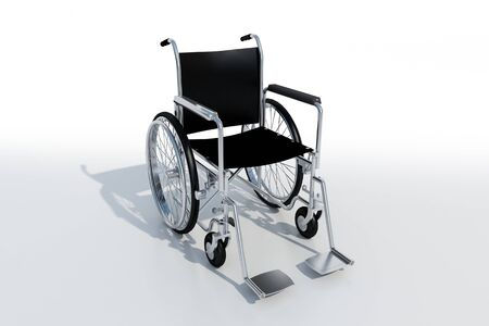 3D rendering of a black and chrome wheelchair on a white background Stock Photo - 4046826