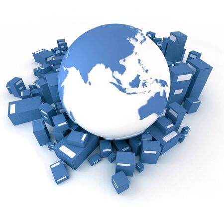 consignment: 3D rendering of the Earth ,Asia oriented, and a heap of cardboard boxes in blue shades Stock Photo