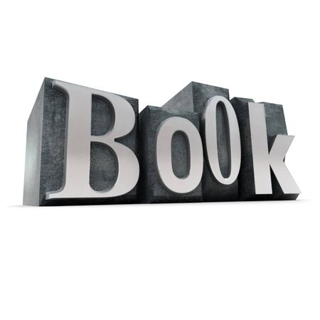 lithograph: 3D rendering of the word book formed with print letter cases