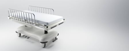 emergency stretcher: 3D rendering of a hospital bed with a neutral background Stock Photo