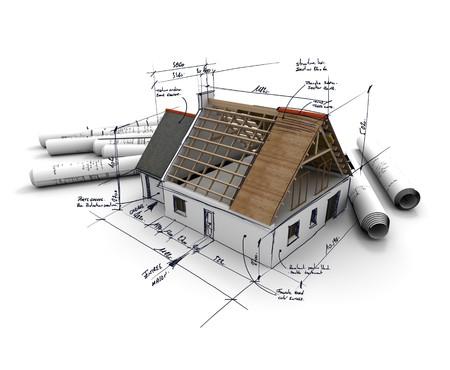 befejezetlen: 3D renderelés egy olyan építészet modell, feltűrt tervrajzok és kézzel írt jegyzetek és mérések Stock fotó