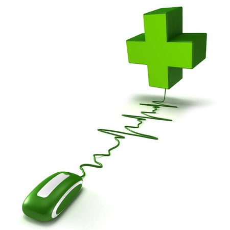 pharmaceutics: 3D rendering of a green cross connected to a computer mouse with the cable shaped like a heartbeat graphic