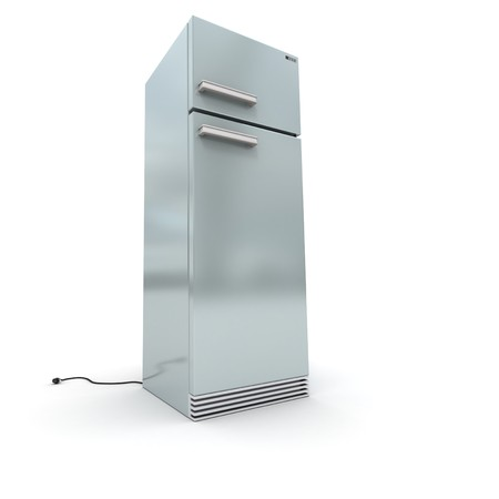 frig: 3D rendering of a refrigerator in chrome against a white background