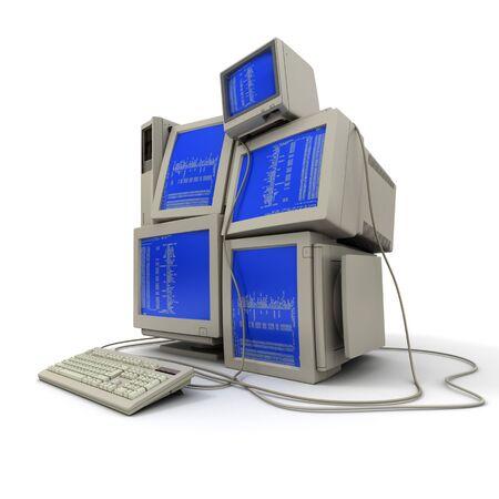 bin�rcode: 3D Rendering eines Haufens von Computern mit einem bin�ren Code auf den Bildschirmen