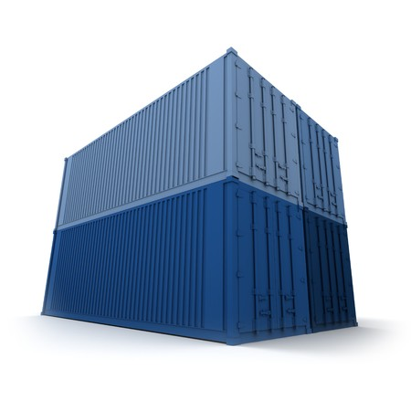 neatly stacked: Four blue cargo containers neatly stacked Stock Photo