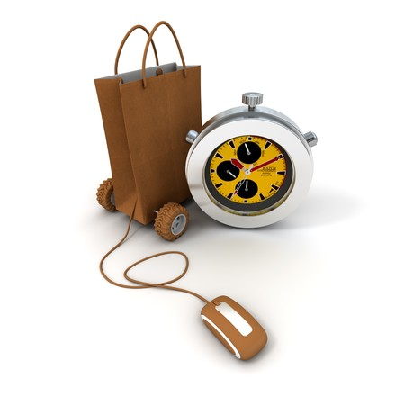 beat the clock: 3D rendering  of a shopping bag on wheels connected to a computer mouse and a chronometer