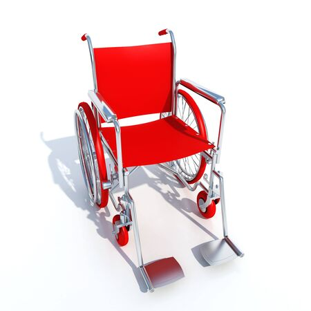 impairment: 3D rendering of a red and chrome wheelchair on a white background