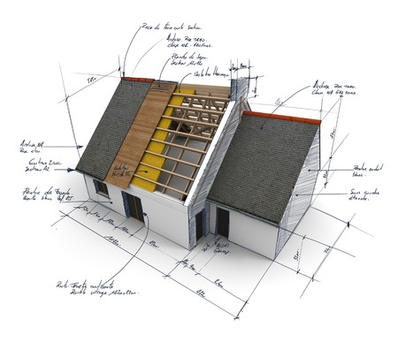 roof beam: 3D rendering of a house showing different layers of roof structure Stock Photo