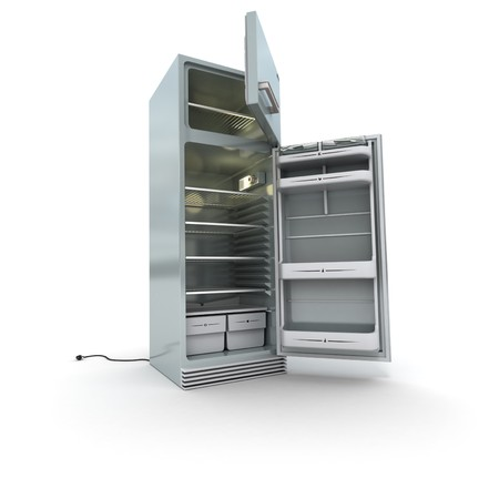 3D rendering of an open refrigerator in chrome against a white background photo