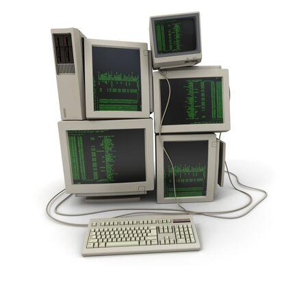 codigo binario: 3D de un mont�n de equipos con un c�digo binario en las pantallas