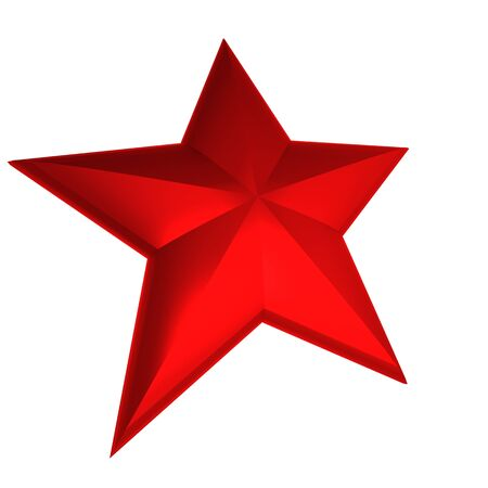 first class: 3D rendering of a red star against a white background Stock Photo