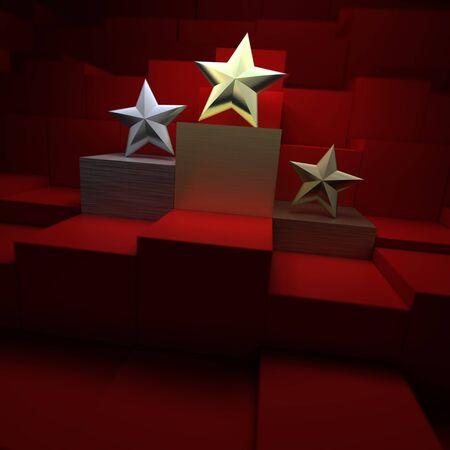 velvet background: Star shaped awards over a red velvet background Stock Photo