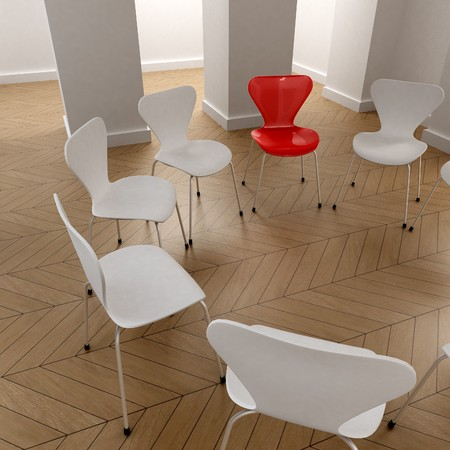 boardroom meeting: 3D rendering of a circle of white chairs and a red one