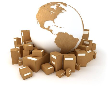 consignment: 3D rendering of the Earth, America oriented,  with a cardboard texture and a heap of cardboard boxes Stock Photo