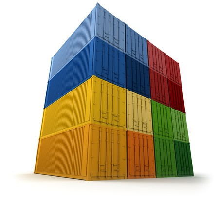 neatly: Block of  colorful cargo containers neatly stacked