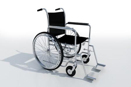 impairment: 3D rendering of a black and chrome wheelchair on a white background Stock Photo