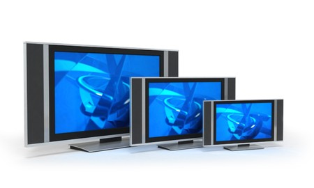 sizes: LCD screen TVs in 3 different sizes with blue display