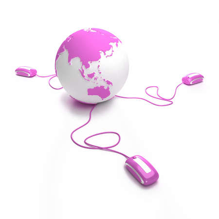 Pink and white Earth Globe oriented to Asia connected with three computer mice. photo